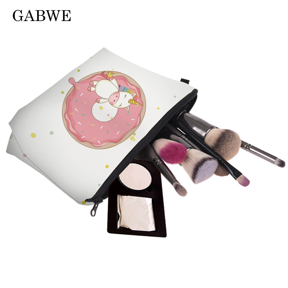 GABWE Printing Cute Unicorn Cosmetic Bag Multicolor Pattern Women Travel Toiletry Make Up Bag Cosmetics Pouch Makeup Organizer
