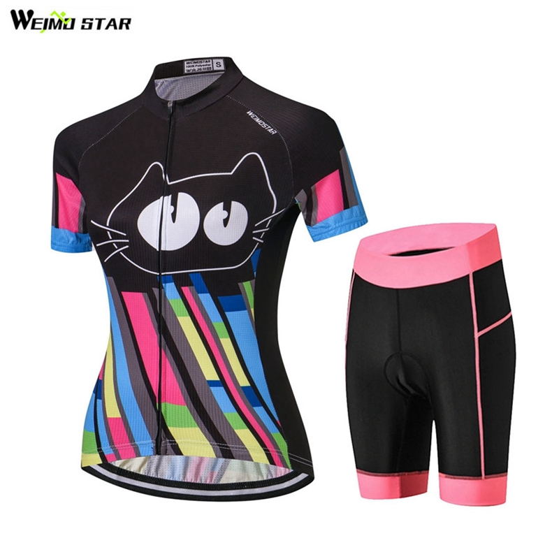 WEIMOSTAR Women Cycling Jersey Shorts Set Short Sleeve MTB Cycling Clothing Gel Pad Shorts Outdoor Bike Clothing