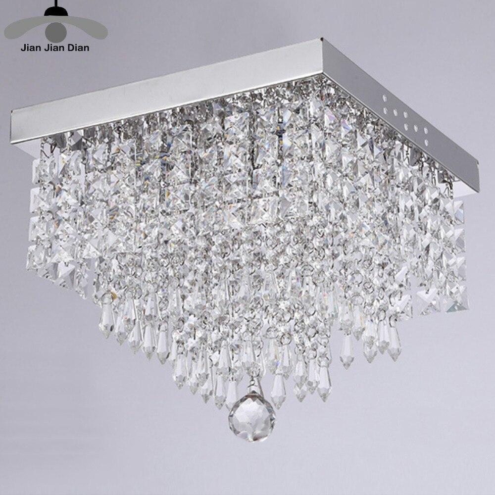 JJD Modern Square K9 Crystal Chandeliers G4 Led Lamps High Power Led Lights Crystal Chandelier Led