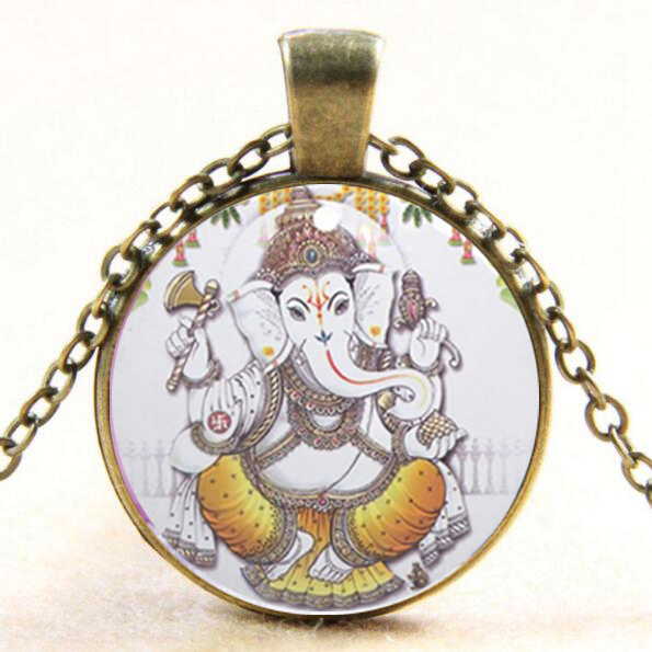 Fashion Hindu Ganapati Glass Dome Pendant Necklace Ganapati Jewelry Necklace For Buddhist Gifts drop shopping YLQ1029