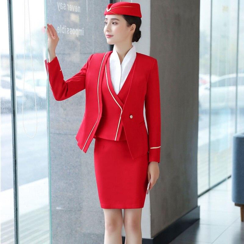 2018 Mode Casual Blazer Anzüge 3 Stück Jacken + Rock + Weste & Weste Frauen Uniform Designs Rote Lange Hülse Arbeit Tragen