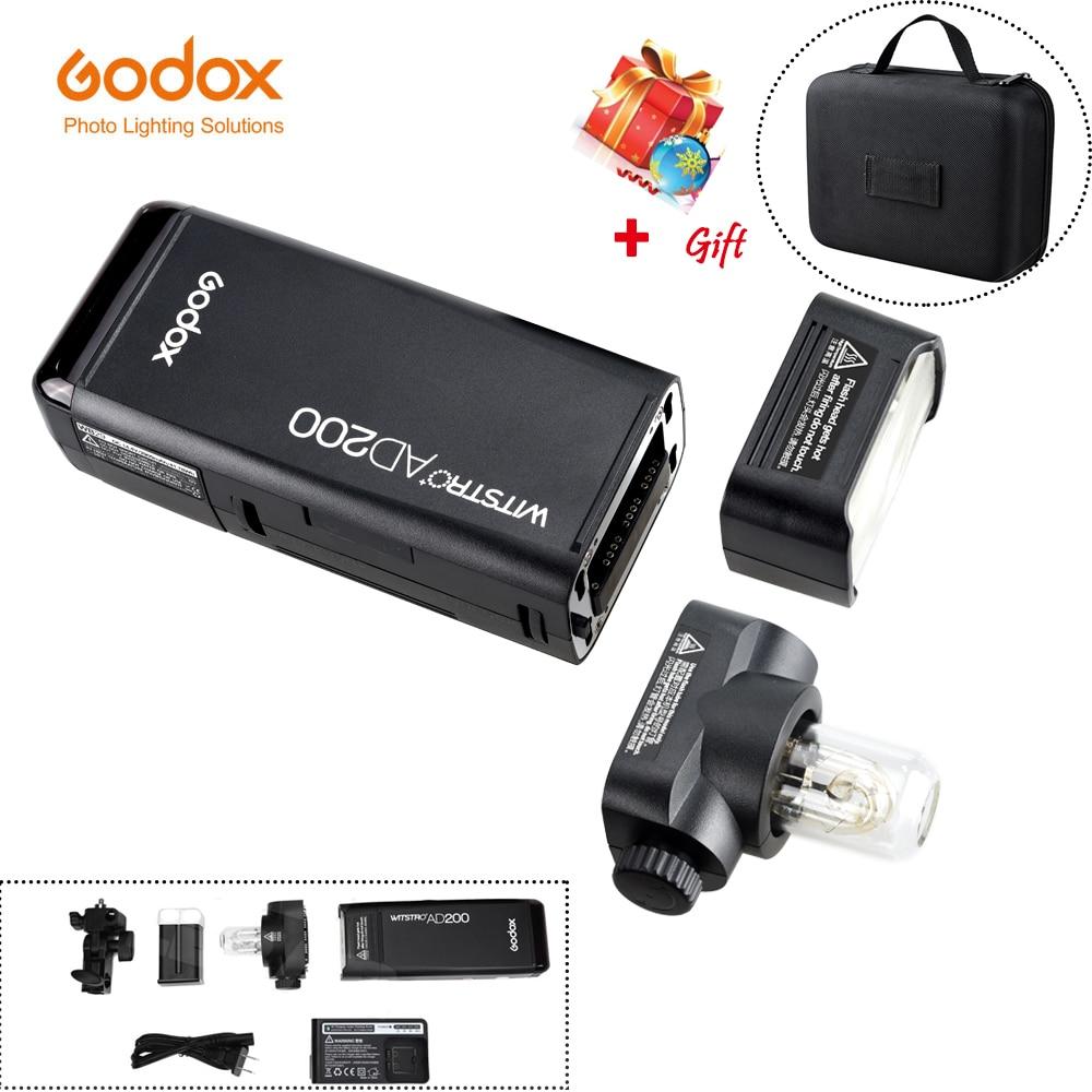 Оригинальный GODOX AD200 ttl 2,4 г HSS 1/8000 s Карманный вспышки света двойной головкой 200Ws с 2900 мАч литиевая Батарея строб вспышки