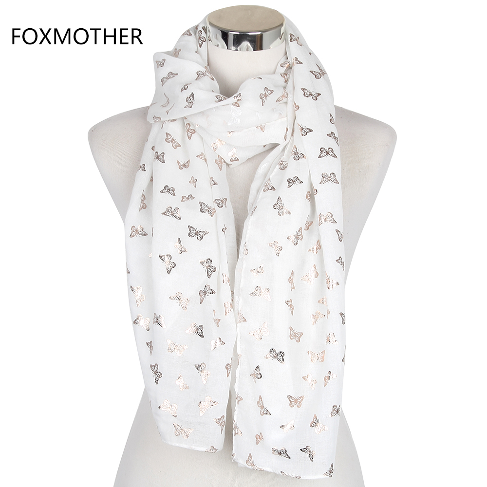 FOXMOTHER 2019 New Women Fashion White Purple Navy Metallic Gold Foil Butterfly Long Scarf Wrap Womens Shawl Butterfly Scarves