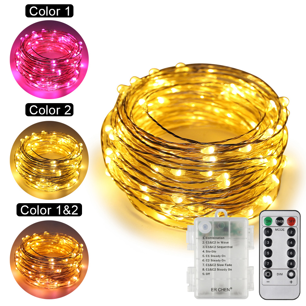 Dual-Color Warm White&Pink Remote Control Battery Operated 33/66Ft 100/200 LED String Lights 8 Modes Dimmable Timed Fairy lights