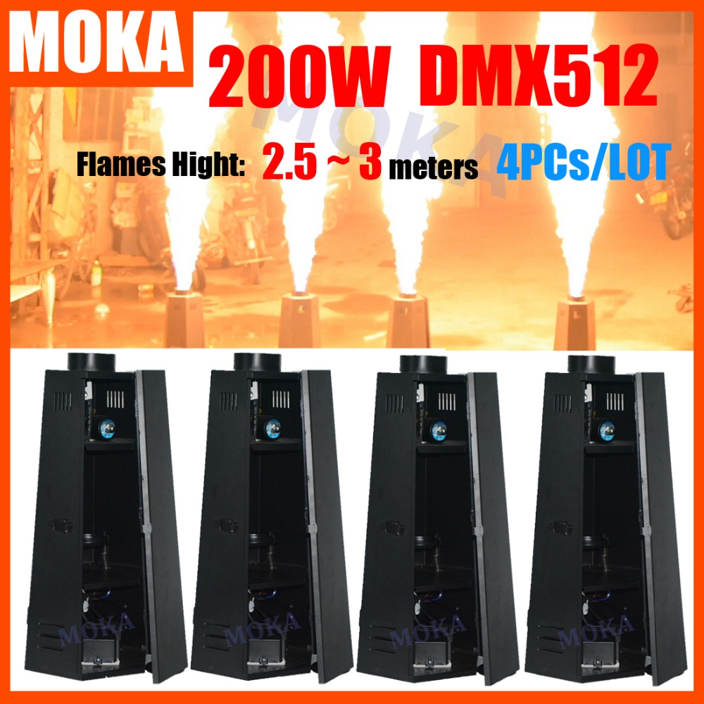 4Pcs/Lot MOKA Stage Effect Fire Machine 200W DMX fire Flame Projector Stage Equipment spray fire machine