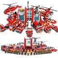 Super Grande Estação de Fogo carros Helicóptero de Brinquedo de Blocos de Construção Tijolos Educacionais Blocos Compatíveis com legoe City Fire