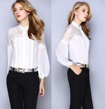 Сексуальные горячие! Высокое качество блузки женщин чисто кружева лоскутное длинным рукавом старинные рубашка черный белый цвет офис формальный блузка рубашки