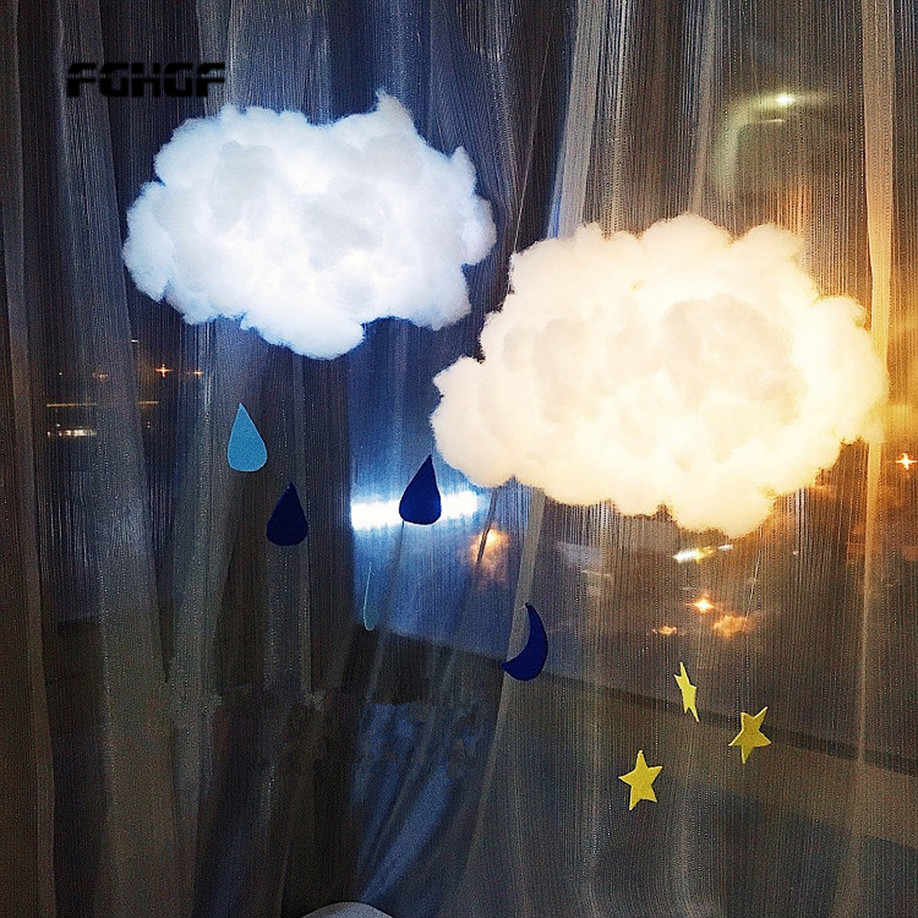 DIY Handmade Cute Cotton Cloud Shape Light Hanging Night Light For Birthday Gift Home Bedroom Decor Drop Shipping Sale