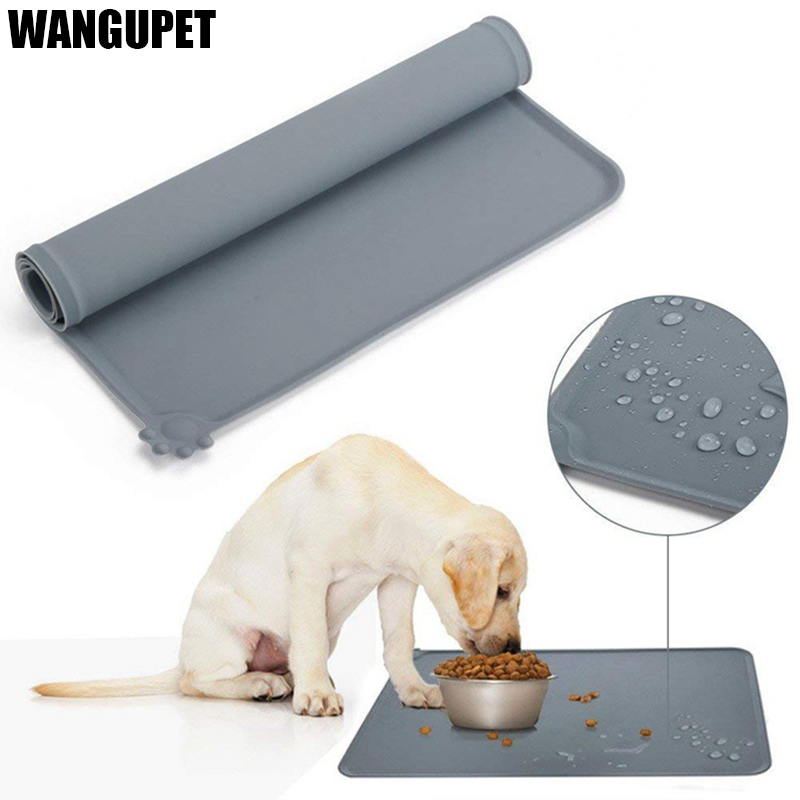 WANGUPET Waterproof Non-slip Pet Feeding Mat Silicone Pet Food Mat Dog Bowl Mat Pet Feeding Tray For Cats And Dogs Pet Suppies