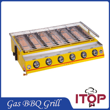 6 Burners Gas BBQ Grill Stainless Steel Barbecue Stove Outdoor Adjustable Height Fast Delivery Smokeless churrasco