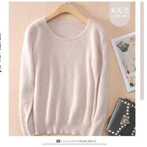 Image 3 - 2020 outono inverno camisola feminina 100% mink cashmere suéteres e pulôver macio quente topos feminino o pescoço manga longa básico jumper