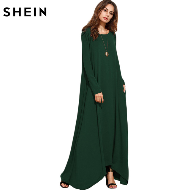 1c22c0754e0c SHEIN Women Asymmetrical Long Dresses Loose Long Sleeve T-shirt Dress  Spring Autumn Casual With Pocket Shift Maxi Dress