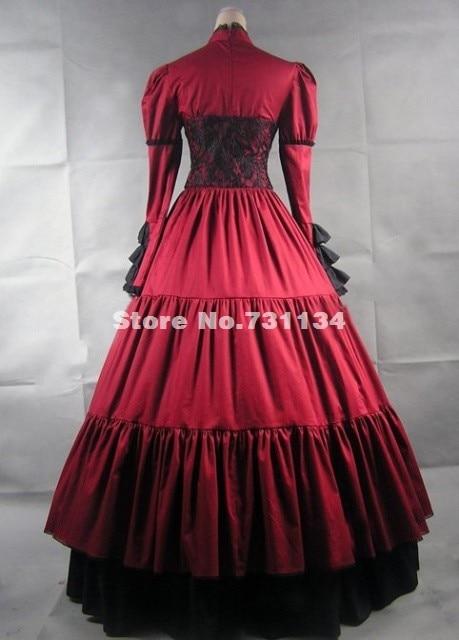 Скидка красная одежда с длинным рукавом и стоячим воротником, с атласным бантом и готический, викторианской эпохи платья Для женщин Хэллоуин вечерние платья