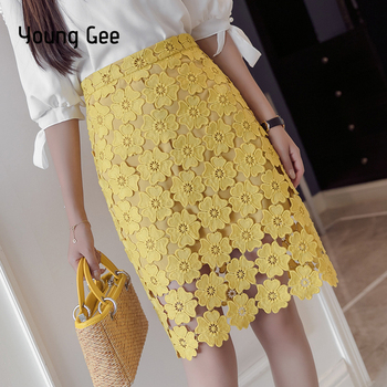 Young Gee Women High Waist Pencil Skirts 2019 Spring Summer Crochet Hollow Our Floral Lace Elegant Tube Office Lady Skirt saias
