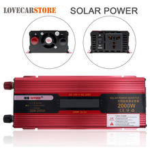 2000W 12V 24V to AC 220V 110V Solar Power Car Power Inverter Aluminum Alloy Auto Inverter Adapter with LCD Display Converter