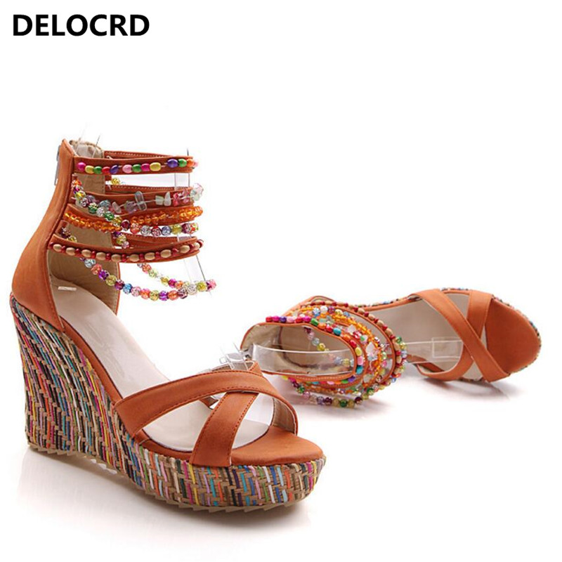 2018 New Woman Summer Sandals Open Toe Zipper String Beaded Shoes Female Wedges Thong Sandals Ladies High Heels Shoes Color32-43 e toy word summer platform wedges women sandals antiskid high heels shoes string beads open toe female slippers