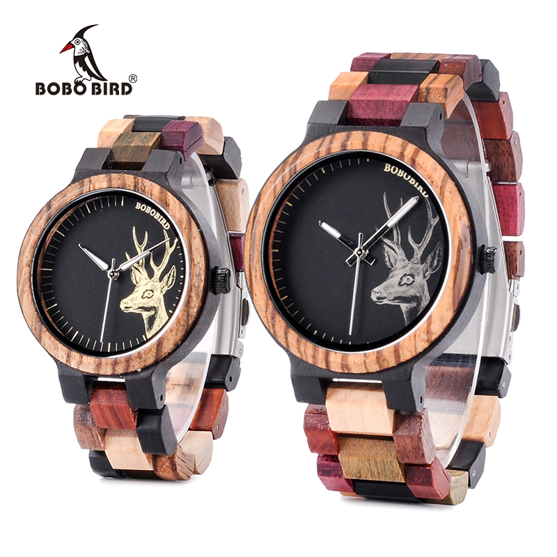 Wristwatches Miyota Wooden Classic Japan Movement Bobo Bird Couple Gifts L-P14 Band Multicolor
