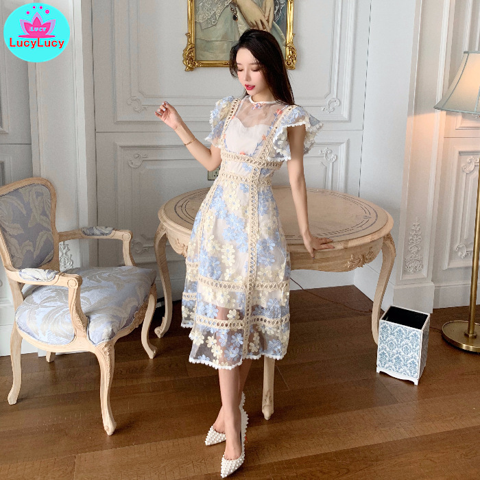 2019 Summer New Women's Korean Embroidery Stitching Barcode Lace Dress Sleeveless  Sheath  Office Lady  Knee-Length
