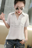 2017 New Casual Women Shirts Striped Vertical Ol Business Attire Han Fan Render Blouse Shirt Pale