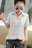 2017 New Casual Women Shirts Striped Vertical Ol Business Attire Han Fan Render Blouse Shirt Pale