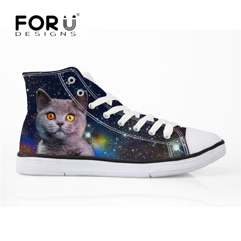 FORUDESIGNS Casual Women Canvas Shoes Galaxy Space Cat 3D Print High Top Vulcanize Shoes for Female Breathable Lace Up Sneakers eyelet lace botanical print top
