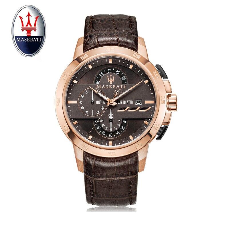 Reloj Maserati para hombre reloj de pulsera de cuarzo de múltiples funciones de marca de lujo de tendencia para hombre de gran Dial reloj de cuero deportivo a prueba de agua