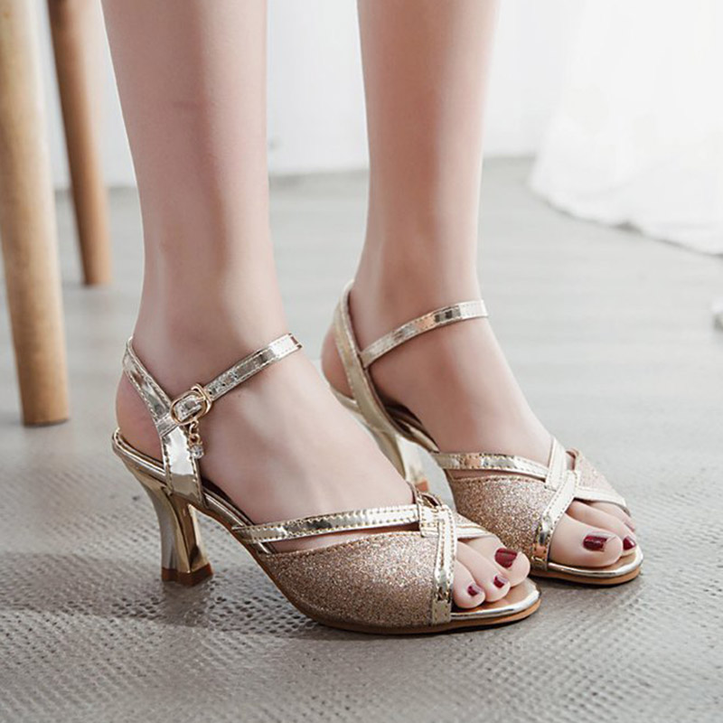 Women Sandals 2019 Summer Shoes Woman Dress Shoes Bling Weddging Shoes Silver High Heels Pumps Ladies Shoes zapatos mujer 7217