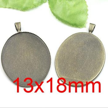Free shipping!!! Lead Free 400pcs/lot Inside size 13x18mm ancient bronze oval Cameo Base Sett DIY pendant findings