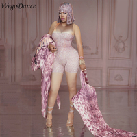 Women Clothing Pink Rhinestones Printed Nude Stretch Jumpsuit Summer Sexy Leggings Costume Bodysuit Nightclub Party Wear Outfit