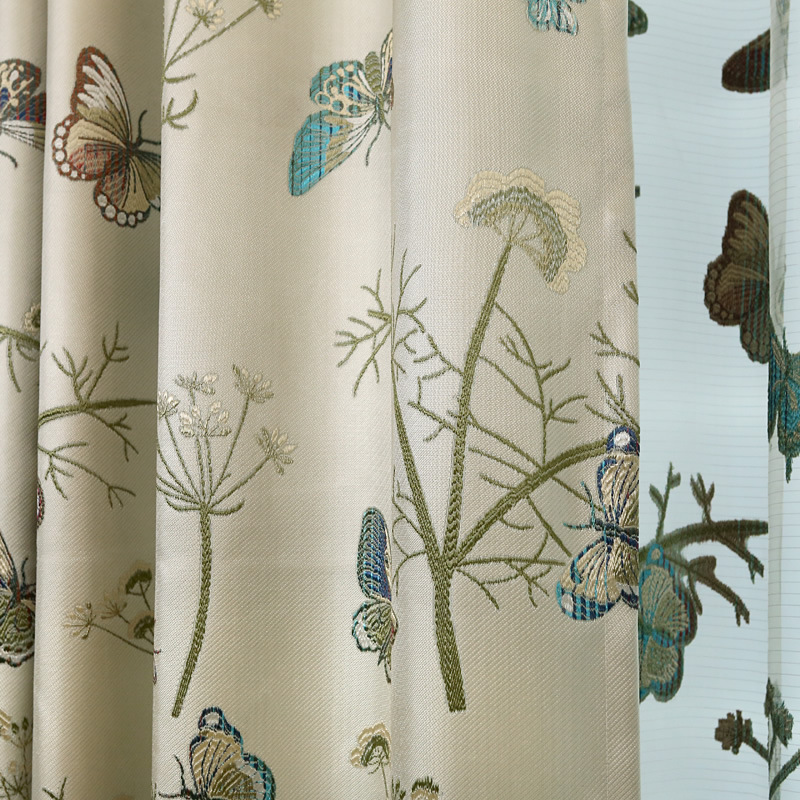 2016 New Korean High Grade Cotton Linen Jacquard Shade Pastoral Finished Cloth Curtain Butterfly Curtains