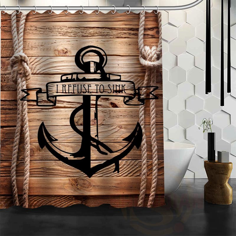 Best Nice Custom Wood And Anchor Shower Curtain Bath Curtain Waterproof Fabric Bathroom MORE SIZE WJY&40