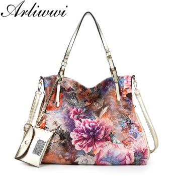 Arliwwi Brand Luxury Peony Flower Women Large Capacity Shoulder Bag Shiny High Quality Synthetic Leather Messenger Handbag PY07
