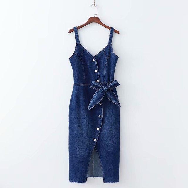 XD65-2105 אירופאי ואמריקאי אופנה סגנון קשת פתוח מזלג השעיה ג 'ינס שמלה