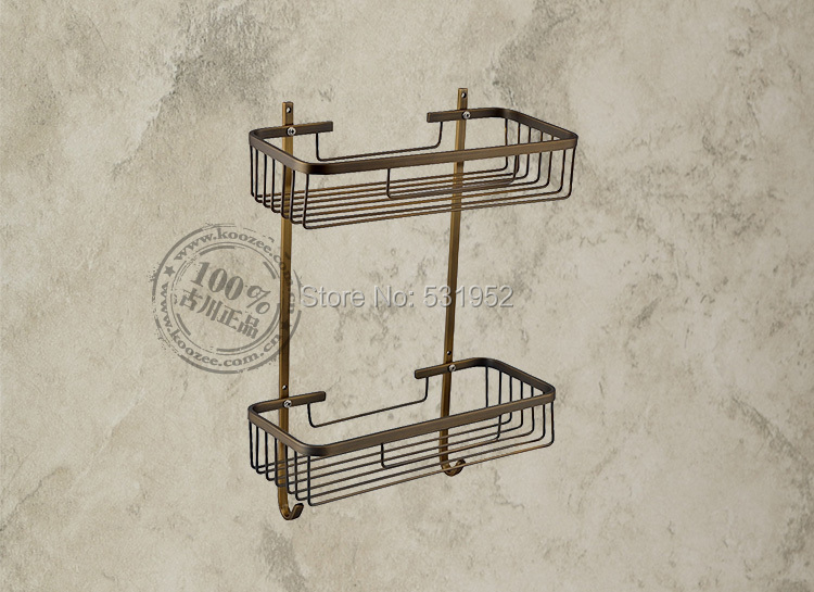 Free Shipping Wall Mounted Antique Bronze Brass Bathroom Accessories / Soap / Sponge & Body Wash Shower Dual Tier Storage Basket free shipping brass black liquid soap dispenser bathroom kitchen stainless steel touch soap dispenser wall mounted 1000ml