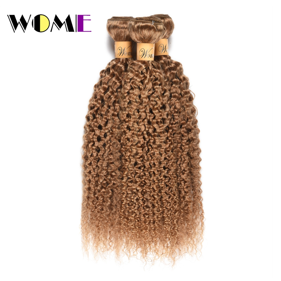 Wome Honey Blonde Color Peruvian Kinky Curly Hair 3 Bundles #27 Human Hair Weaving Curl Hair Extensions Double Weft