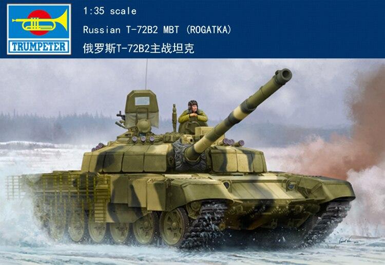 Trumpet 09507 1:35 Russian T-72B2 main battle tank Assembly model trumpet 09527 1 35 russian t 80ud main battle tank assembly model