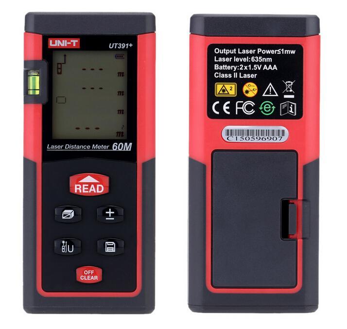ФОТО UNI-T UT391+ Handheld 60m Digital Laser Distance Meter Range Finder Measure Tape Laser Telemetre Self-calibration Level Bubble
