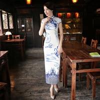 New Chinese Traditional Silk Long Dress Qipao Vintage Summer Short Sleeve Mandarin Collar Cheongsam For Women