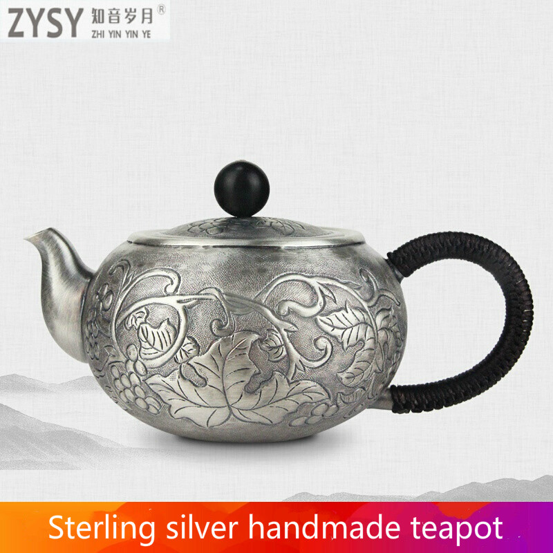 China silver city Ag999 Silver Products GrapeTeapot Hand made  Do the old retro Kung Fu Tea Set Japanese style tea set