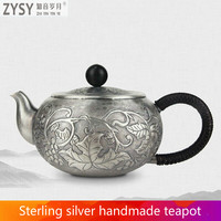 China silver city Ag999 Silver Products GrapeTeapot Hand made Do the old retro Kung Fu Tea Set Japanese style silver tea set