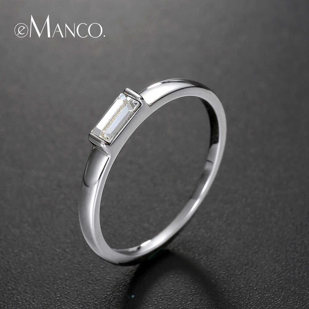 Anillos minimalistas e-manco, regalos de aniversario para parejas, 925 anillos de plata esterlina Real para hombre y mujer, joyería clásico bonito