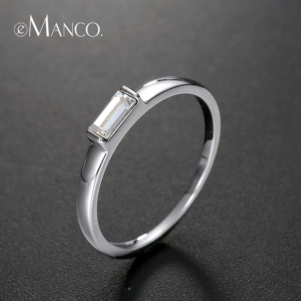 e-Manco Minimalist Rings Anniversary Gifts for Couples Real 925 Sterling Silver Rings For Man Women Classic Fine Jewelry
