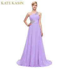Free Delivery Long Chiffon Bridesmaid Dresses One Shoulder Beading Royal Blue Purple Red Pink Cheap Bridesmaid Dress Gown 2949(China)