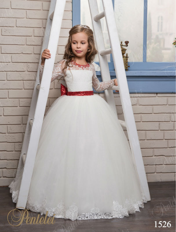 2017 New Lace Flower Girls Dresses For Wedding Gown Ball Gown Kids Beauty Pageant Dresses Ankle-Length Mother Daughter Dresses 2017 new flower girls dresses for wedding gown ball gown vintage communion dresses ankle length mother daughter dresses with bow