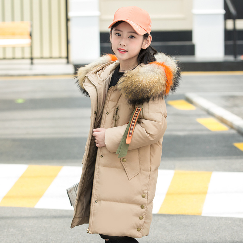 Fashion Design Girl Down Parkas Long Jackets Hooded Colorful Fur Teenager Girl Warm thicken Duck Down Coats Outerwear -30degree цена