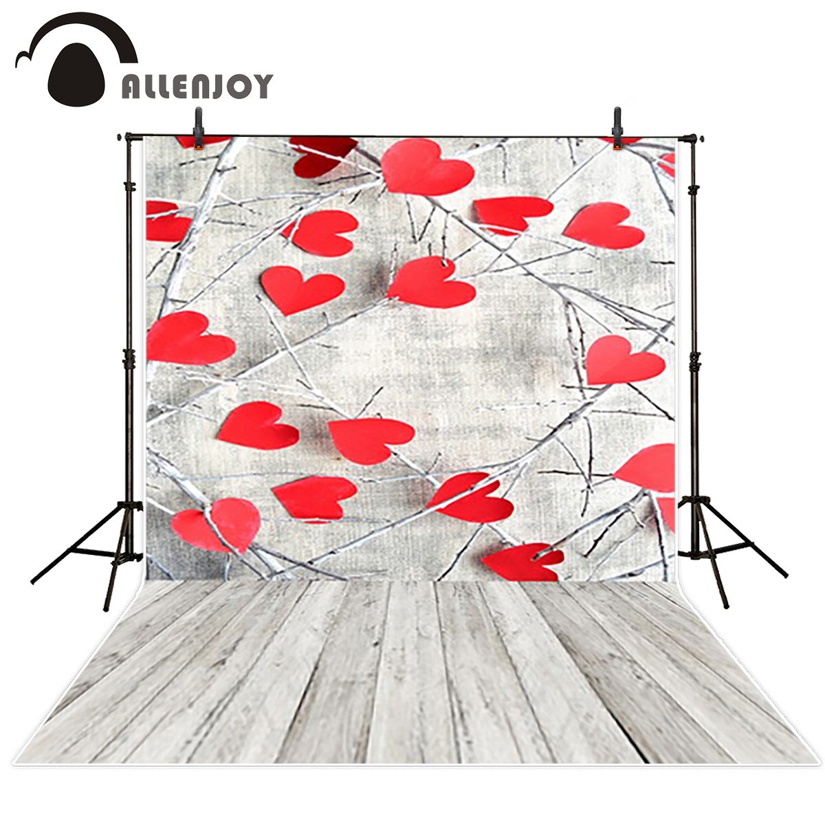 Allenjoy photography backdrops Love white wood board floor red hearts branches Valentine 's Day wedding photo booth profissional 8x10ft valentine s day photography pink love heart shape adult portrait backdrop d 7324