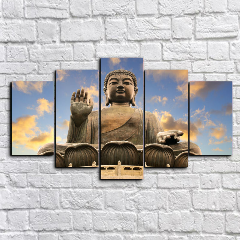 Hot Sales 5 Piece Buddha Unframed Painting Printed On Canvas Home Wall Decoration For Home Wall Living Room Decor drop shipping