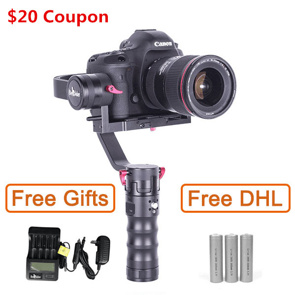 Free EMS DHL Beholder DS1 3 Axis Handhled Gimbal Stabilzier Support Canon 5D 6D 7D DSLR