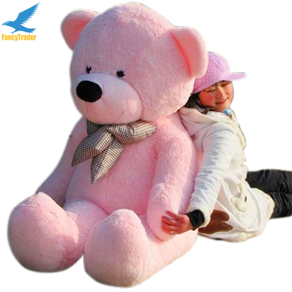 Fancytrader 63'' Pink Color Giant Plush Stuffed Teddy Bear 160cm Free Shipping 4 Colors Available FT90059 fancytrader new style giant plush stuffed kids toys lovely rubber duck 39 100cm yellow rubber duck free shipping ft90122