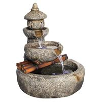 Design Toscano Asian Decor Water Fountain with LED Light Tranquil Springs Pagoda Fountain Outdoor Water Feature